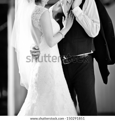 together forever and never apart, newly wed couple - stock photo
