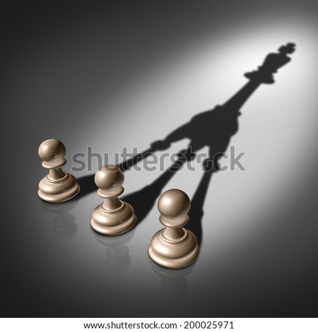 Together success and joining business concept for team leadership strategy as three chess pawn pieces casting a shadow shaped as the king for teamwork partnership and successful group planning . - stock photo