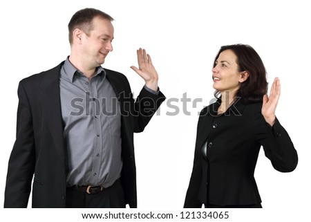 together successfully - stock photo