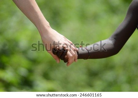 Togetherness and No To Racism - Peace on Earth Symbol - stock photo