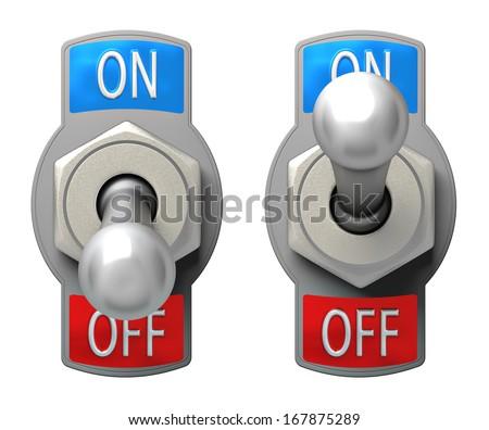Toggle Switch set on white background - stock photo