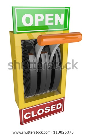 toggle switch with plate reading Open and Closed - stock photo