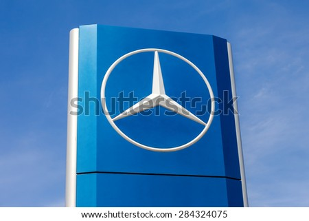 TOGLIATTI, RUSSIA - MAY 3, 2015: Official dealership sign of Mercedes-Benz. Mercedes-Benz is a German automobile manufacturer