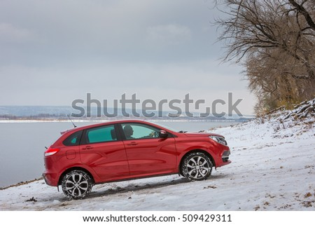 Togliatti, RUSSIA - November 02, 2016: Test drive LADA XRAY with new motor 1.8 l and manual transmission. National Park Samarskaya Luka in the Zhiguli mountains on the Volga river