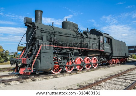 TOGLIATTI, RUSSIA - SEPT. 20, 2015: Steam engine locomotive ER type Eh2 builded at Voroshilovgrad, Brjanksk, 305 units 1934-1936, displayed at the AvtoVAZ Technical Museum in Togliatti, Samara, Russia