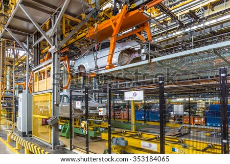 Togliatti, Samara region, Russia - June 09: Assembly line of LADA Cars B0 Platform in Automobile Factory AVTOVAZ - The Member of Alliance RENAULT-NISSAN-AVTOVAZ, on June 09, 2015 in Togliatti