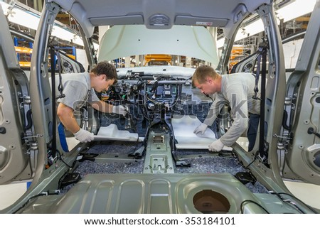 Togliatti, Samara region, Russia - June 26: Assembly line of LADA Cars B0 Platform in Automobile Factory AVTOVAZ - The Member of Alliance RENAULT-NISSAN-AVTOVAZ, on June 26, 2015 in Togliatti - stock photo