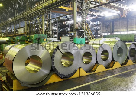 TOGLIATTI - SEPTEMBER 30: Rolls of material for production of details at Avtovaz factory on September 30, 2011 in Togliatti, Russia. AvtoVAZ was winner in Absolute brand 2012 among Russian companies - stock photo