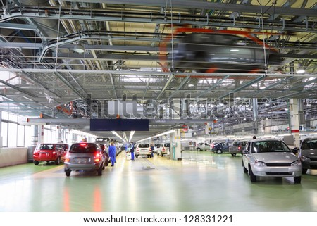 TOGLIATTI - SEPTEMBER 30: Workshop with new Lada Kalina cars and line on factory VAZ on September 30, 2011 in Togliatti, Russia. Lada Kalina safety rating Euro NCAP - Adults 8.4 out of 16. - stock photo