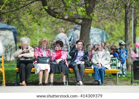 Togliatty /RUSSIA - MAY 9, 2011: Citizens of Togliatty relax in the park during festivities devoted to anniversary of Victory Day on May 9