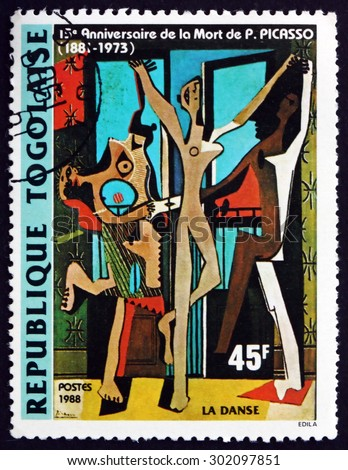 TOGO - CIRCA 1988: a stamp printed in Togo shows The Dance, Painting by Pablo Picasso, Spanish Painter, circa 1988 - stock photo