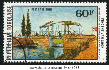 TOGO - CIRCA 1978: stamp printed by Togo, shows Langlois Bridge, by Vincent van Gogh, circa 1978