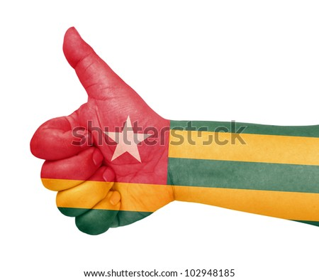 Togo flag on thumb up gesture like icon - stock photo
