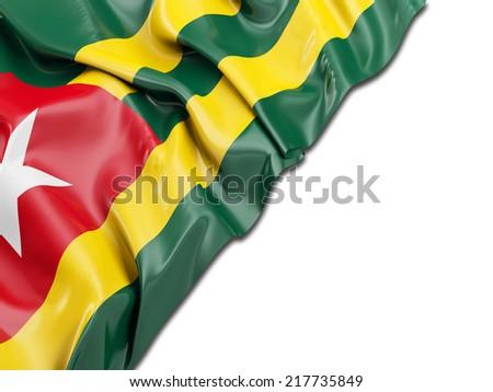 Togo Wavy Flag with white - stock photo