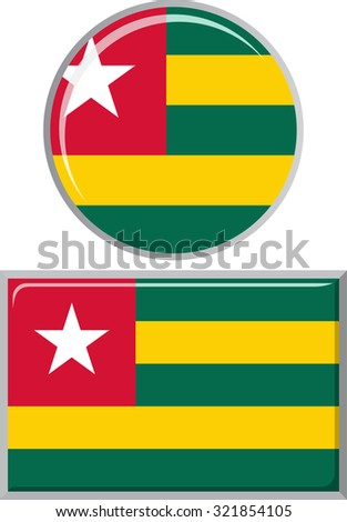 Togolese round and square icon flag. Raster version.