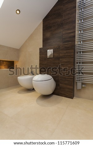 Toilet and bidet in beige and brown bathroom