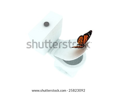 toilet and butterfly - stock photo