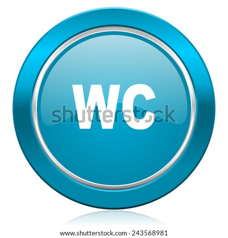 toilet blue icon wc sign  - stock photo