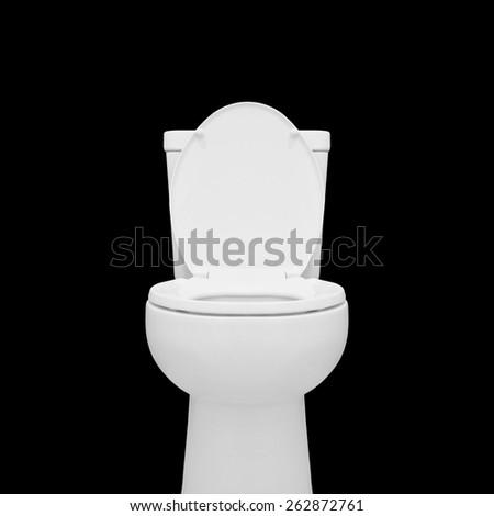toilet bowl isolated on black background - stock photo