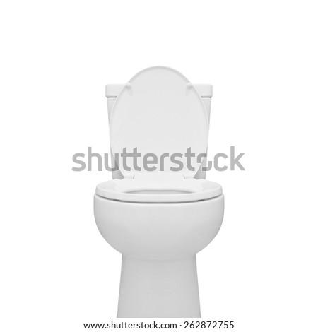 toilet bowl isolated on white background - stock photo