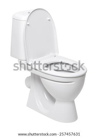 toilet bowl on a white background - stock photo