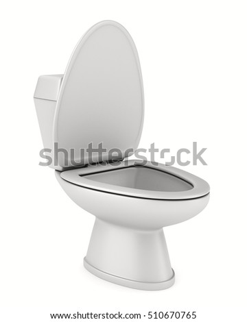 Toilet bowl on white background. Isolated 3D image