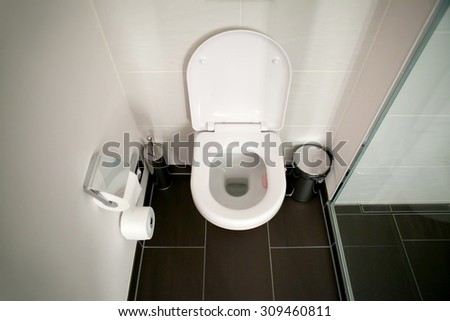 Toilet clean seat in the bathroom - stock photo