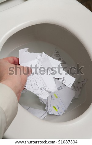 Toilet, document, Concept of top secret
