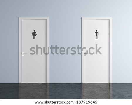 toilet doors for male and female genders - stock photo