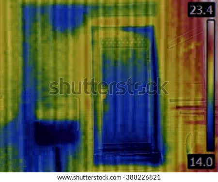 Toilet Flusher Water Leak Thermogram - stock photo