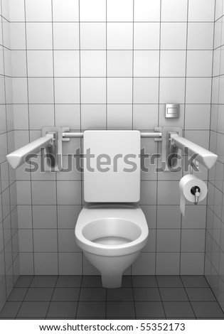 white wall toilet toilet paper on holder isolated on stock illustration 127594265