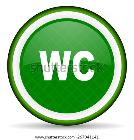 toilet green icon wc sign  - stock photo