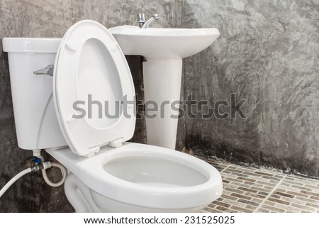 Toilet in a building interior