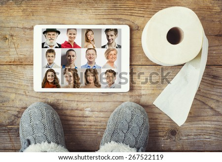 Toilet mix on a wooden floor background. View from above. - stock photo