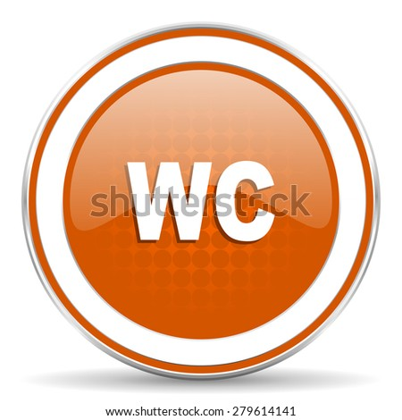 toilet orange icon wc sign  - stock photo