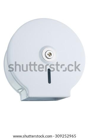 Toilet paper dispenser made of white metal - stock photo