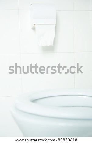 Toilet paper hanging on the wall. - stock photo