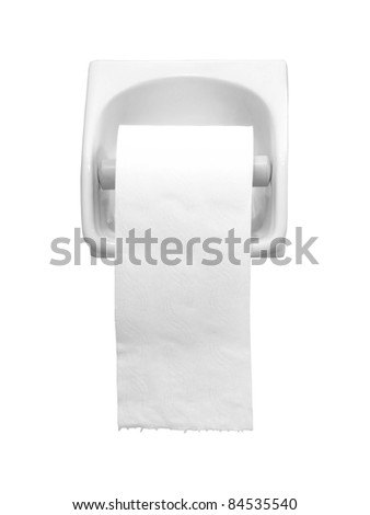 Toilet paper holder isolated over white background - stock photo