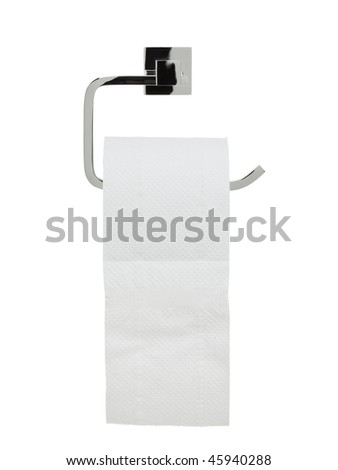 toilet paper holder with roll - stock photo