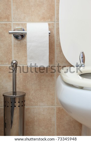 toilet paper in modern bathroom - stock photo