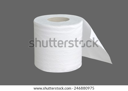toilet paper isolated on gray - stock photo