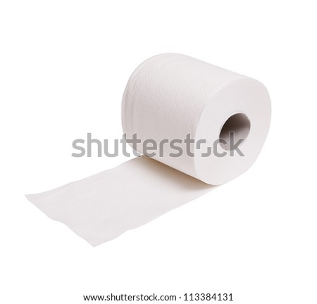 toilet paper isolated on white - stock photo