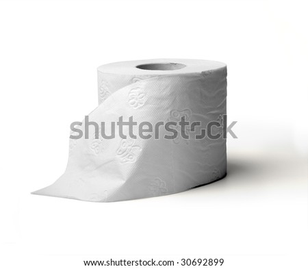 toilet paper isolated on white background (incl. clipping path ) - stock photo