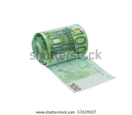 Toilet paper made from 100 euro bills, isolated on a white - stock photo