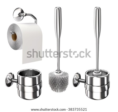 Toilet paper on the holder and the toilet brush. Isolated on white