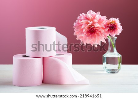 Toilet paper on the table - stock photo