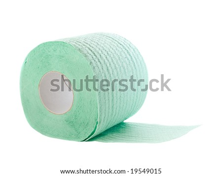 toilet paper roll isolated on white. shallow dof