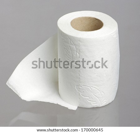 Toilet paper roll on the studio grey background - stock photo