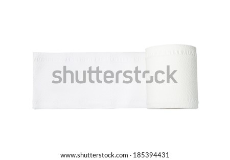 toilet paper roll on white background - stock photo