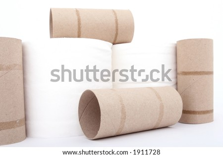 Toilet paper rolls isolated on over white - stock photo